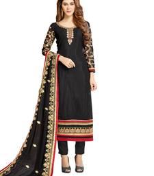 Buy Black Thread Embroidery Georgette Semi Stitched Salwar With Dupatta semi-stitched-salwar-suit online