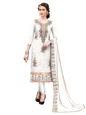 Cream Thread Embroidery Chanderi Unstitched Salwar With Dupatta