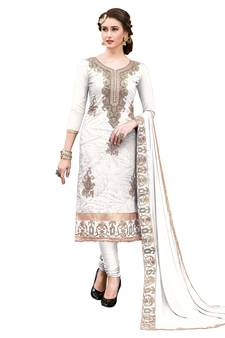 5bb65cd7f660 Cream Thread Embroidery Chanderi Unstitched Salwar With Dupatta