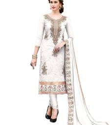 Buy Cream Thread Embroidery Chanderi Unstitched Salwar With Dupatta dress-material online