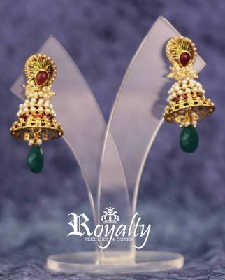 Royal Jhumka Pearls Golden Earrings