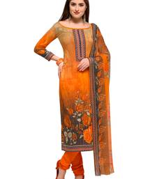 Buy Orange Printed Crepe Unstitched Salwar With Dupatta dress-material online