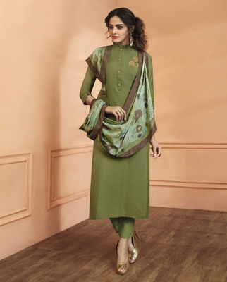 Green Silk Salwar With Dupatta
