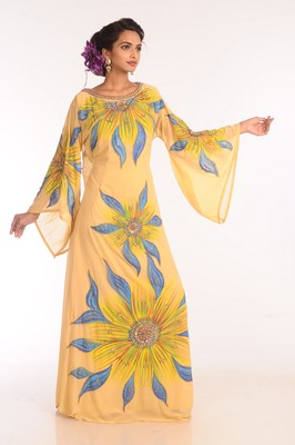 Yellow Embroidered Georgette Islamic Kaftans With Zari Work