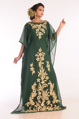 Green Embroidered Georgette Islamic Kaftans With Zari Work