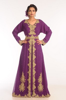 Purple Embroidered Georgette Islamic Kaftans With Zari Work