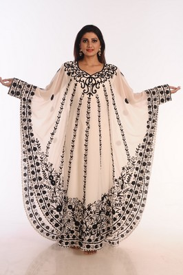 Cream Embroidered Georgette Islamic Kaftans With Zari Work