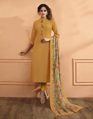 Mustard Silk Salwar With Dupatta