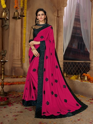 Pink embroidered cotton silk saree with blouse