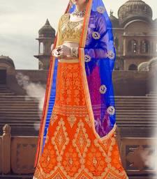 Buy Orange thread embroidery net semi stitched lehenga with dupatta lehenga-choli online