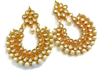 Divinique Jewelry Kundan Chaand Bali earrings