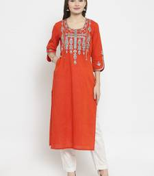 Red hand woven cotton kurti