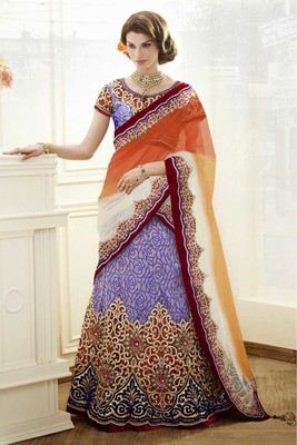 multicolor Brocade  and Satin and Net Embroidered and Stone Work unstitched lehenga-choli