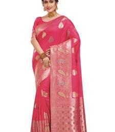 Buy Pink woven banarasi silk saree with blouse banarasi-silk-saree online