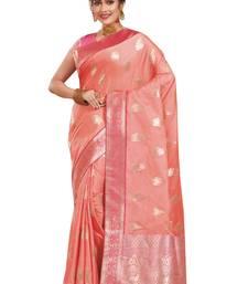 Buy Peach woven banarasi silk saree with blouse banarasi-silk-saree online