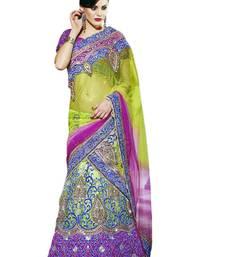 Buy multicolor Lahenga: Net  and  Satin and   Dupatta: Net Embroidered Work and Stone and Zari Work unstitched lehenga-choli lehenga-choli online