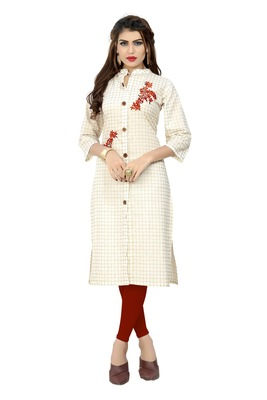 White embroidered cotton kurti