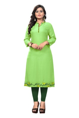 Parrot-green embroidered rayon kurti