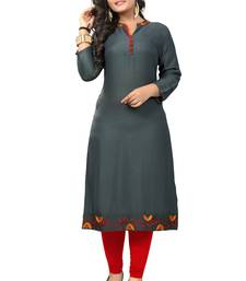 Grey embroidered rayon kurti