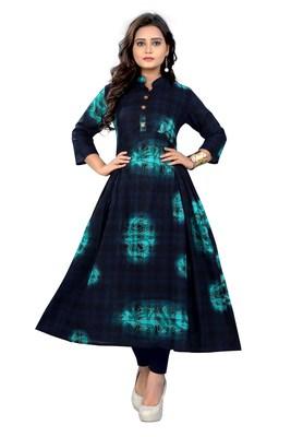 Dark-blue printed cotton kurti