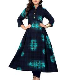 Dark-blue printed cotton kurti