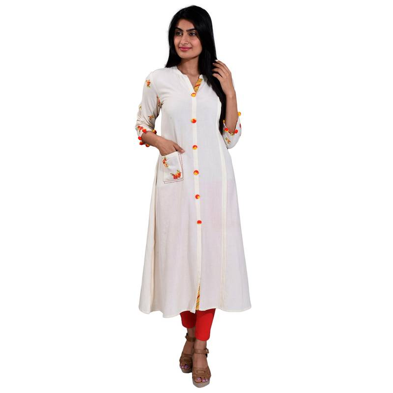 440797d0d42 White plain cotton kurti - Dharini Apparels - 2738941