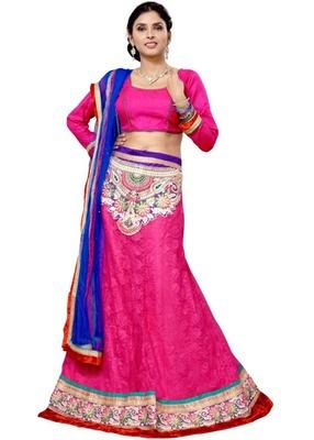 Pink jacquard embroidered lehenga choli