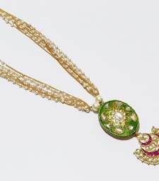 High End kundan with Meena Pendent Long Necklace indo western