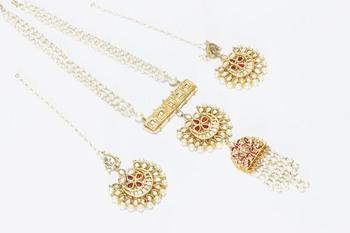 white pearl Long Indo western mala with chandbali earrings