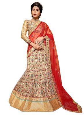 Beige Embroidered Net unstitched ghagra-choli