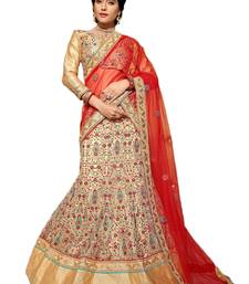 Beige Embroidered Net unstitched ghagra-choli