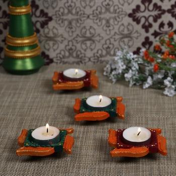 Aapno Rajasthan Multicolor Teracotta Swastik Design Diyas for Diwali - Set of 4
