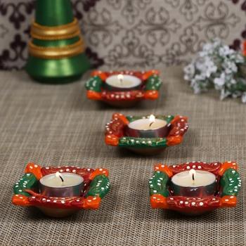 Aapno Rajasthan Multicolor Teracotta Square Diyas for Diwali - Set of 4