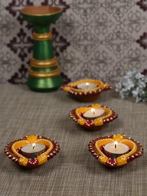 Aapno Rajasthan Multicolor Teracotta Handpainted Diyas For Diwali - Set Of 4
