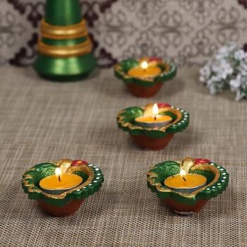 Aapno Rajasthan Green Teracotta Handpainted Diyas For Diwali - Set Of 4