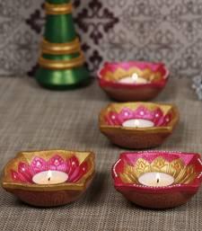 Aapno Rajasthan Pink & Gold Teracotta Square Diyas for Diwali - Set of 4