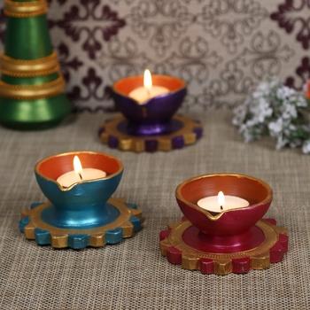 Aapno Rajasthan Multicolor Teracotta Diyas for Diwali - Set of 3