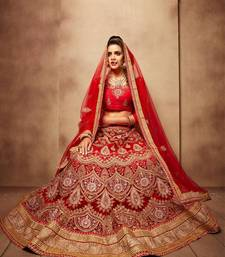 Buy Red net embroidered  lehenga choli punjabi-lehenga online