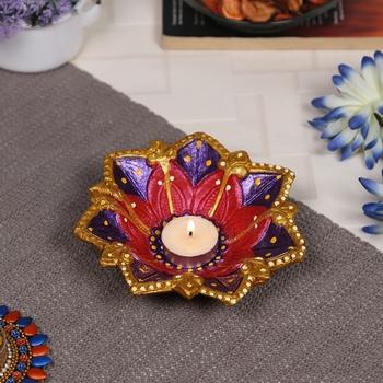 Aapno Rajasthan Multicolor Teracotta Floral Design Diyas for Diwali - 1 pc