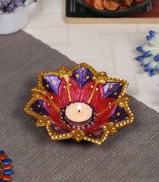 Aapno Rajasthan Multicolor Teracotta Floral Design Diyas for Diwali - 1 pc