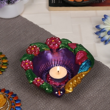 Aapno Rajasthan Multicolor Teracotta Handcrafted Diya For Diwali In Floral Design- 1 Pc