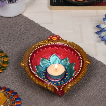 Aapno Rajasthan Multicolor Teracotta Handcrafted Diya For Diwali In Traditional Design - 1 Pc