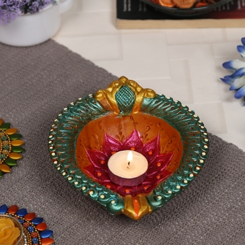 Aapno Rajasthan Multicolor Ethnic Teracotta Handcrafted Diya For Diwali - 1 Pc