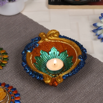 Aapno Rajasthan Traditional Multicolor Teracotta Handcrafted Diya for Diwali - 1 pc