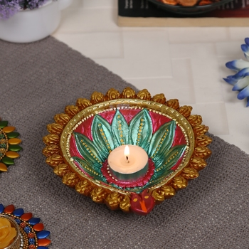 Aapno Rajasthan Floral Design Multicolor Teracotta Handcrafted Diya For Diwali - 1 Pc