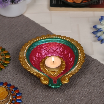 Aapno Rajasthan Multicolor Teracotta Handcrafted Diya For Diwali - 1 Pc