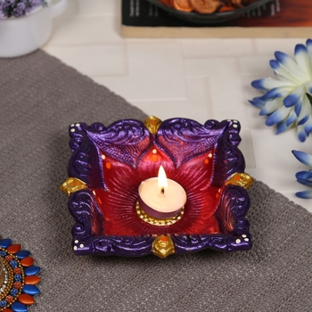 Aapno Rajasthan Multicolor Teracotta Square Shape Diya for Diwali - 1 pc
