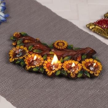 Gel filled Floral Diya Tray - 1 pc
