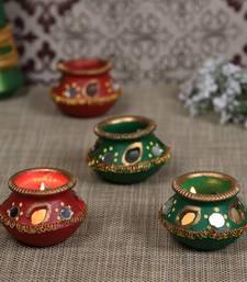 Decorated Hand Painted Matki Diyas - set of 4