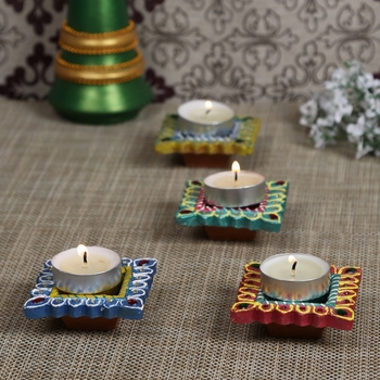Multicolor Hand Painted And Decorated 4 Diya Set